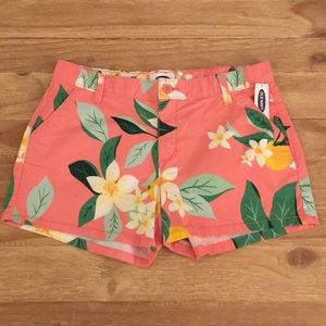 Old Navy Bottoms - OLD NAVY Girls Pink Floral Tropical Chino Shorts